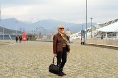 La mujer en el fondo de atracciones nevosas fotografía de archivo