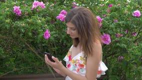 La mujer en el parque en las rosas que se sientan en un banco y escribe un mensaje en Smartphone almacen de video