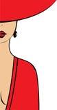 La mujer en el rojo Fotos de archivo libres de regalías
