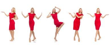 La mujer en el vestido rojo aislado en blanco imagen de archivo libre de regalías