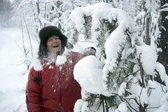 La mujer en parque del invierno despeja nieve de una risa de la rama fotografía de archivo