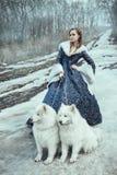 La mujer en paseo del invierno con un perro Imágenes de archivo libres de regalías