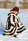 La mujer en un abrigo de pieles del visión Foto de archivo libre de regalías