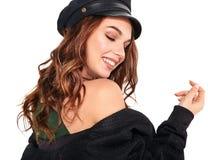 La mujer en verano casual viste con el maquillaje natural que presenta en estudio Fotografía de archivo libre de regalías
