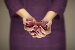 La mujer en vestido del ` s del violett 50 da sostener algunos lichis Imagenes de archivo
