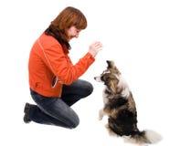 La mujer es entrenamiento del perro Fotografía de archivo