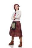 La mujer escocesa aislada en el fondo blanco imagen de archivo libre de regalías
