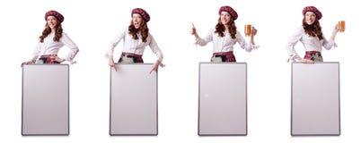 La mujer escocesa con el tablero en blanco fotos de archivo libres de regalías
