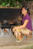 La mujer está asando los granos de café de los gatos de civeta, Bali Imagenes de archivo