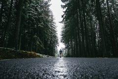 La mujer está caminando a través de bosque en invierno Solamente la mujer está entrando en día frío foto de archivo libre de regalías