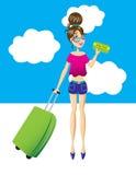 La mujer está lista para ir a viajar Imagenes de archivo