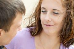 La mujer está mirando a su novio Imágenes de archivo libres de regalías