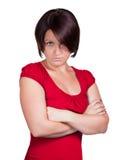 La mujer está muy trastornada Imagen de archivo