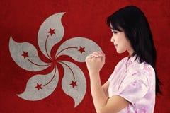 La mujer felicita Año Nuevo chino Foto de archivo