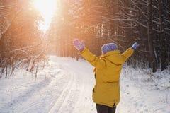 La mujer feliz de la belleza disfruta de la puesta del sol en el parque en invierno Imagen de archivo