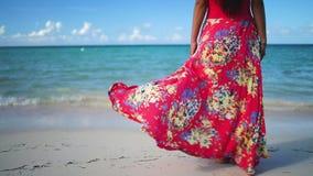La mujer feliz en vestido tropical disfruta de sus vacaciones de verano en las islas caribe?as metrajes