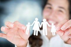 La mujer feliz expresa el concepto de familia Imagen de archivo libre de regalías