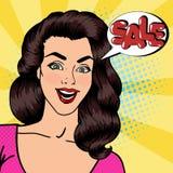 La mujer feliz grita venta Bandera de la venta Pin encima de la muchacha Arte pop libre illustration