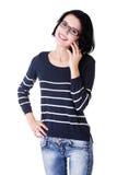 La mujer feliz joven está llamando Fotografía de archivo libre de regalías