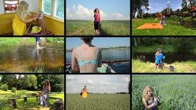 La mujer feliz pasa día de fiesta en naturaleza Ocio activo collage metrajes