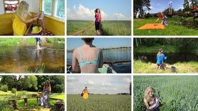 La mujer feliz pasa día de fiesta en naturaleza Ocio activo collage almacen de video
