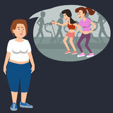 La mujer gorda tiene un complejo sobre su cuerpo Fotografía de archivo libre de regalías