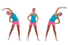 La mujer hace ejercicios Imagen de archivo