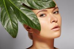 La mujer hermosa aplica el cosmético orgánico Balneario y salud Modelo con la piel limpia Atención sanitaria Imagen con la hoja imágenes de archivo libres de regalías