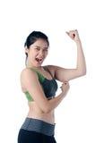 La mujer hermosa con la grasa arma problema Foto de archivo libre de regalías