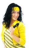 La mujer hermosa con un destornillador nos guiña Fotos de archivo