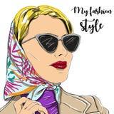 La mujer hermosa de la moda en gafas de sol vector el ejemplo EPS Fotografía de archivo libre de regalías