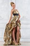 La mujer hermosa del bonde en leopardo modeló el vestido largo. imágenes de archivo libres de regalías