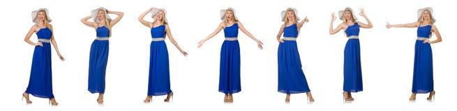 La mujer hermosa en el vestido azul largo aislado en blanco Imágenes de archivo libres de regalías