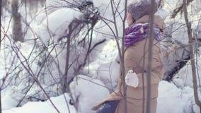 La mujer hermosa feliz está caminando en el bosque del invierno durante las nevadas almacen de video