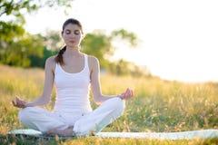 La mujer hermosa joven practica yoga en Sunny Meadow Imagen de archivo