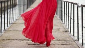 La mujer hermosa sola está pasando el muelle, la vista trasera de sus piernas y el vestido largo almacen de metraje de vídeo