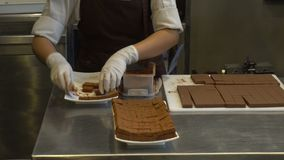 La mujer hizo caídas del polvo de cacao que tamizaba en las barras de chocolate almacen de video