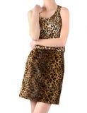 La mujer irreconocible se vistió en falda y blusa del estampado leopardo. Imagen de archivo libre de regalías