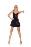 La mujer joven alta en vestido negro Fotos de archivo libres de regalías