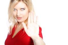 La mujer que hace un cese y renuncia gesto fotos de archivo
