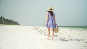 La mujer joven camina descalzo en la playa a lo largo del océano almacen de metraje de vídeo