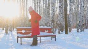 La mujer joven camina a través en parque ilustrado de la ciudad con los abedules en invierno almacen de metraje de vídeo