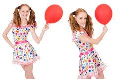 La mujer joven con el globo rojo aislado en blanco Imágenes de archivo libres de regalías
