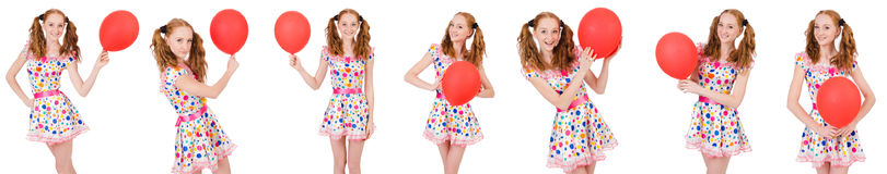 La mujer joven con el globo rojo aislado en blanco Foto de archivo