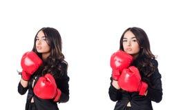 La mujer joven con el guante de boxeo Foto de archivo libre de regalías