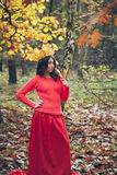 La mujer joven con la corona del amarillo del otoño se va Foto de archivo