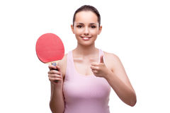 La mujer joven con la estafa de tenis de mesa aislada en blanco Imágenes de archivo libres de regalías