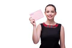 La mujer joven con la letra aislada en blanco Imagen de archivo libre de regalías