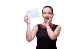 La mujer joven con la letra aislada en blanco Fotos de archivo libres de regalías