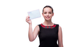 La mujer joven con la letra en blanco Foto de archivo